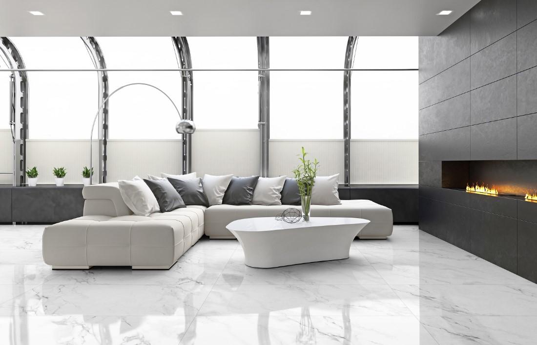 Płytki Biały Marmur Z Grafitową Zylą Dell Arte Calacata 60x120