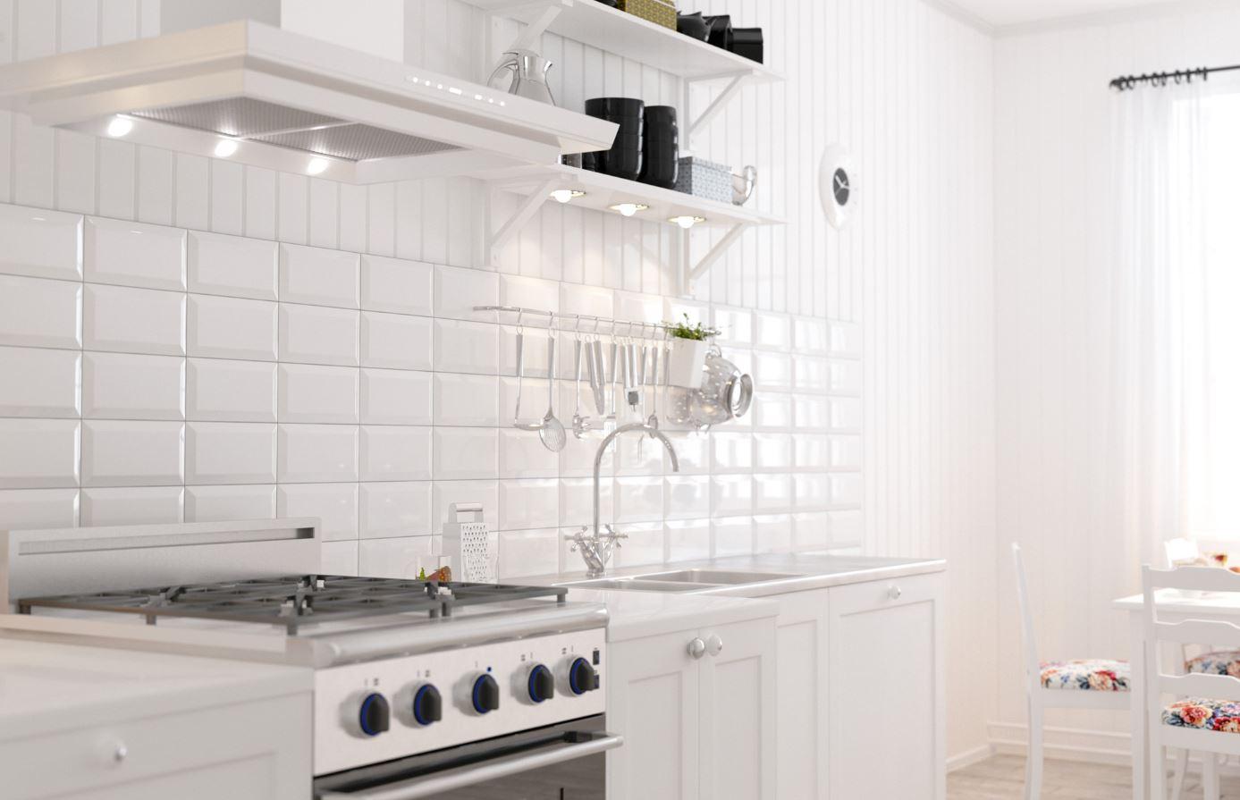 Płytki Cegiełki Białe Z Faską Połysk Biselado Blanco Brillo Metrotiles White 10x20