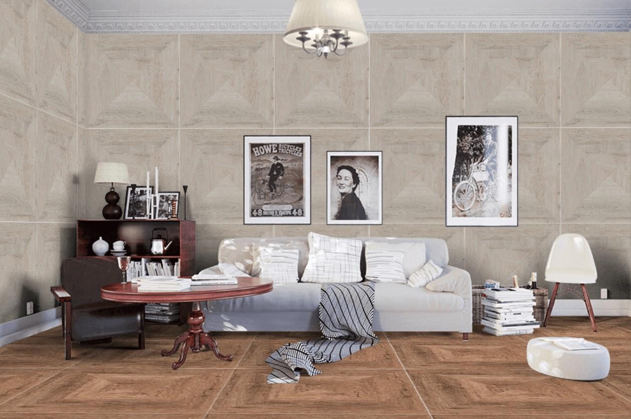 Płytki Naturalne Drewno Parkiet W Formie Kwadratu Brąz Porcelanosa Heritage Cognac 80x80