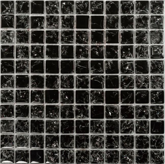 Mozaika Czarna Potłuczone Szkło Dell Arte Black Linea 30x30