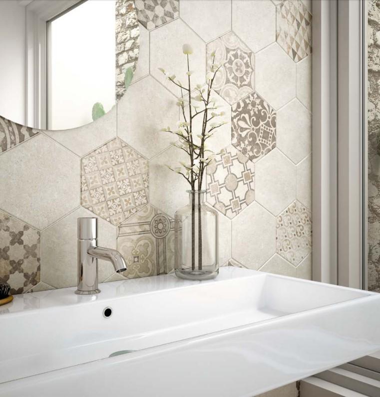 Płytki Do łazienki Podłogowe Heksagonalne Brąz Equipe Hexatile Cement Mud 175x20