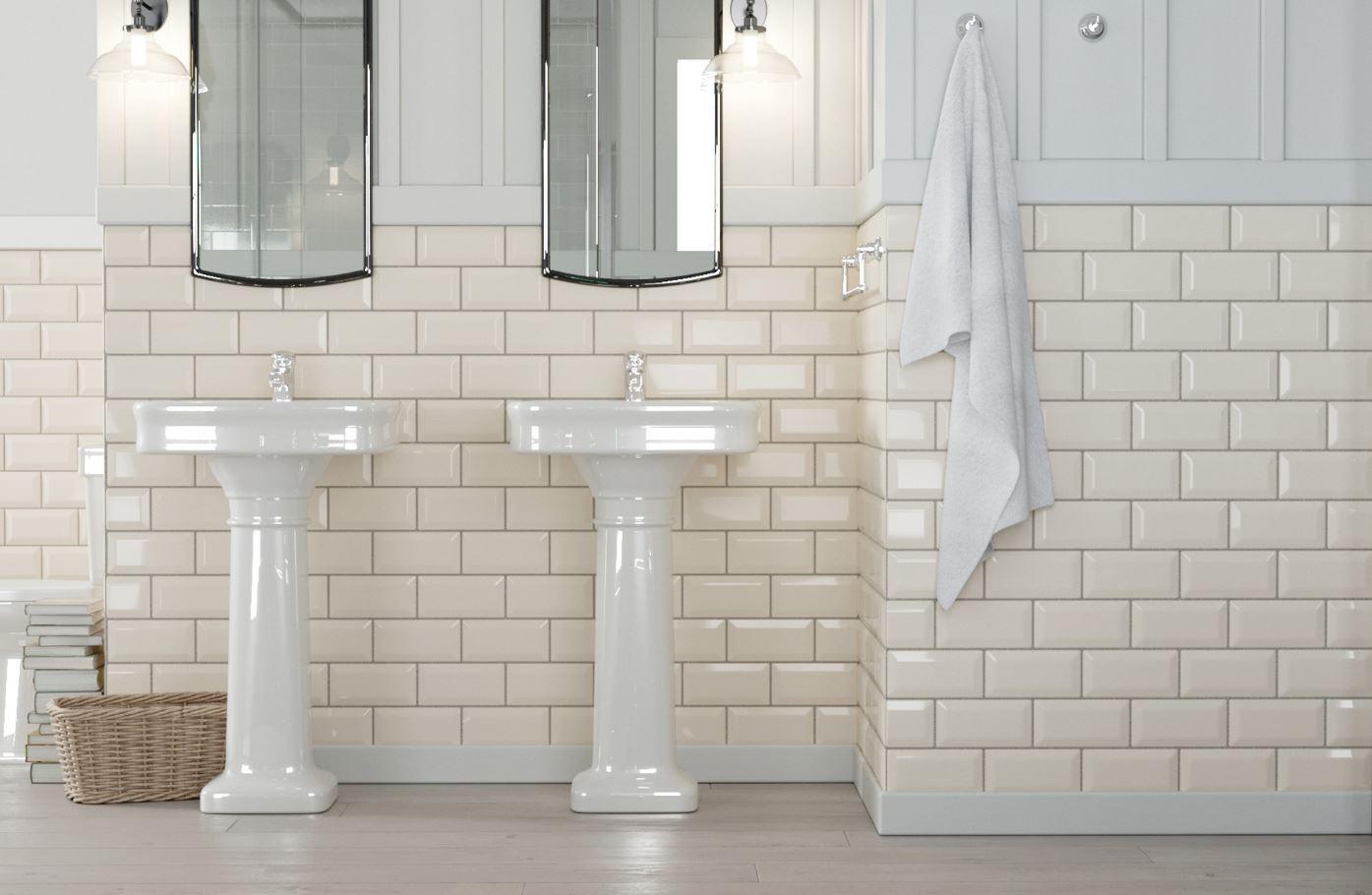 Płytki Cegiełki Beżowe Z Faską Biselado Beige Brillo Metrotiles Beige 10x20