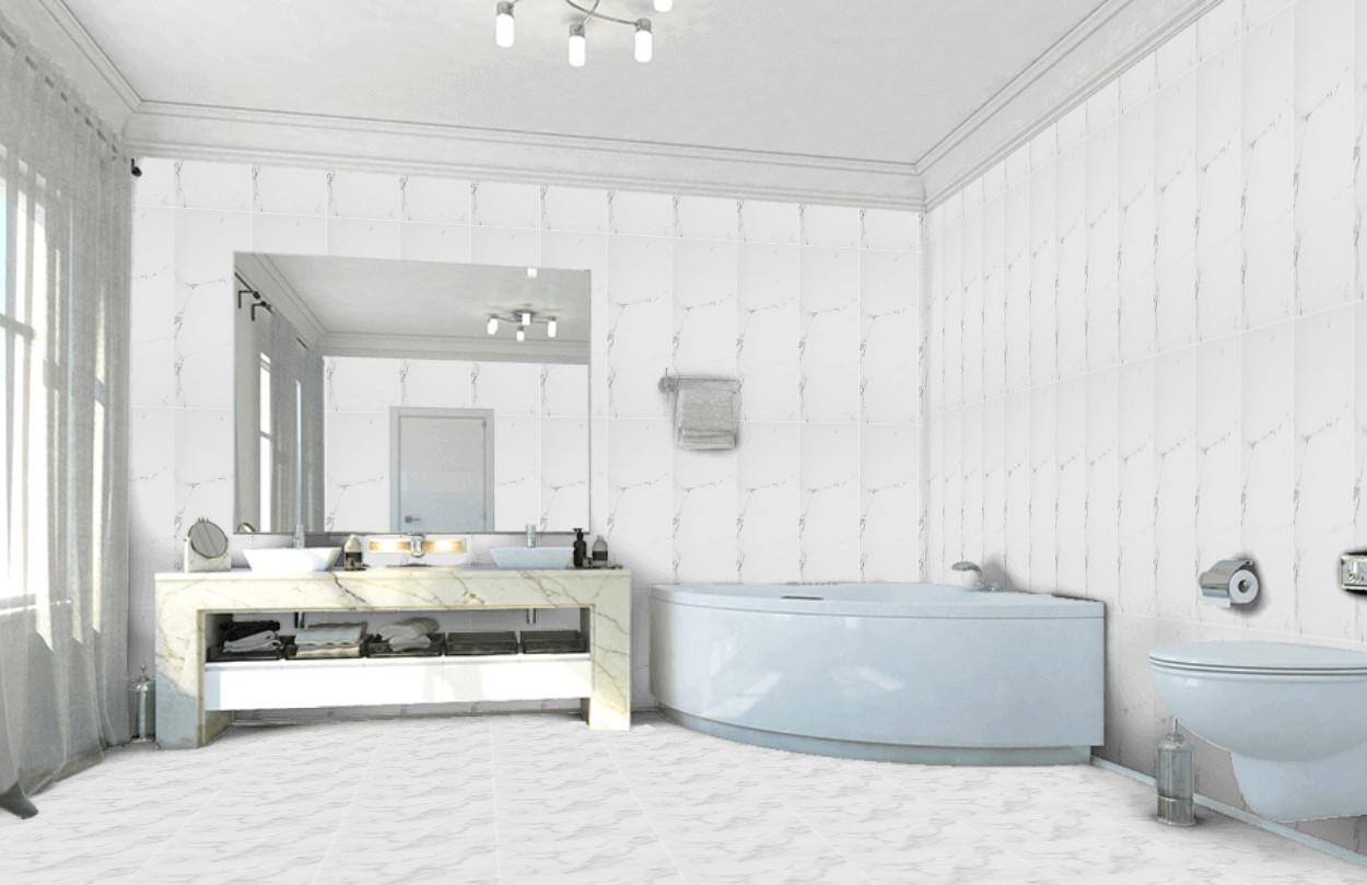 Płytki ścienne łazienka Marmur Biały Cięka Szara źyła Porcelanosa Marmol Carrara Blanco 45x120