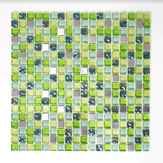 Mozaika Mix Zielona Metal Kamień Szkło Kwadratowa Metropol Mm 0127 305 X 322