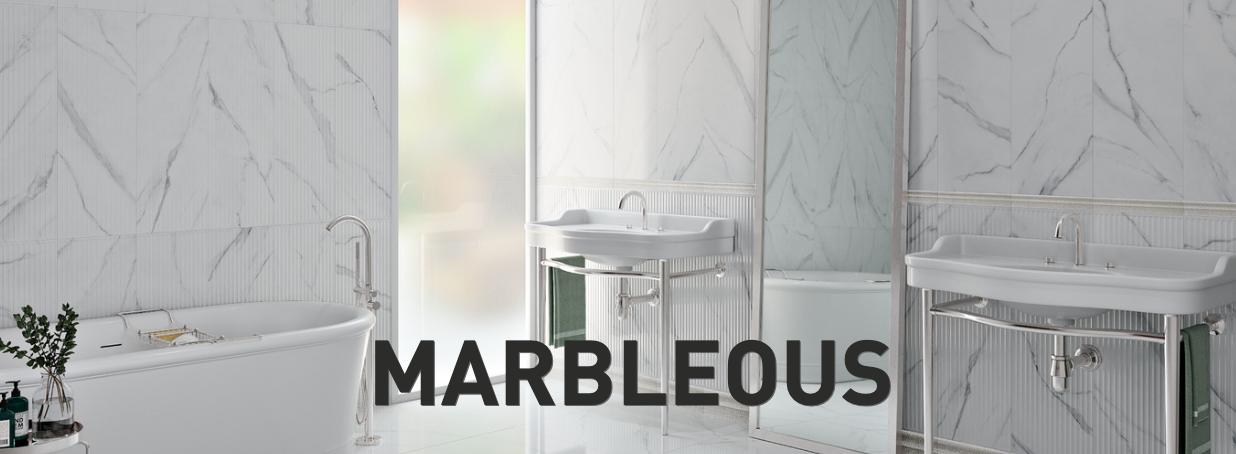 Płytka Do łazienki Biały Marmur Z Czarna źyła Struktura Długie Pasy Marbleous Concept White Kr5pg040 30x90 Trn