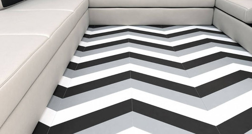 Wow Floor Tiles Chevron B Floor R9 Graphite Matt 10x52