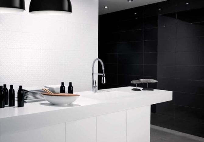 elegancka czarno-biała kuchnia